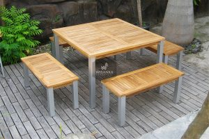 Alloy Casting Laris Bench Dining Set